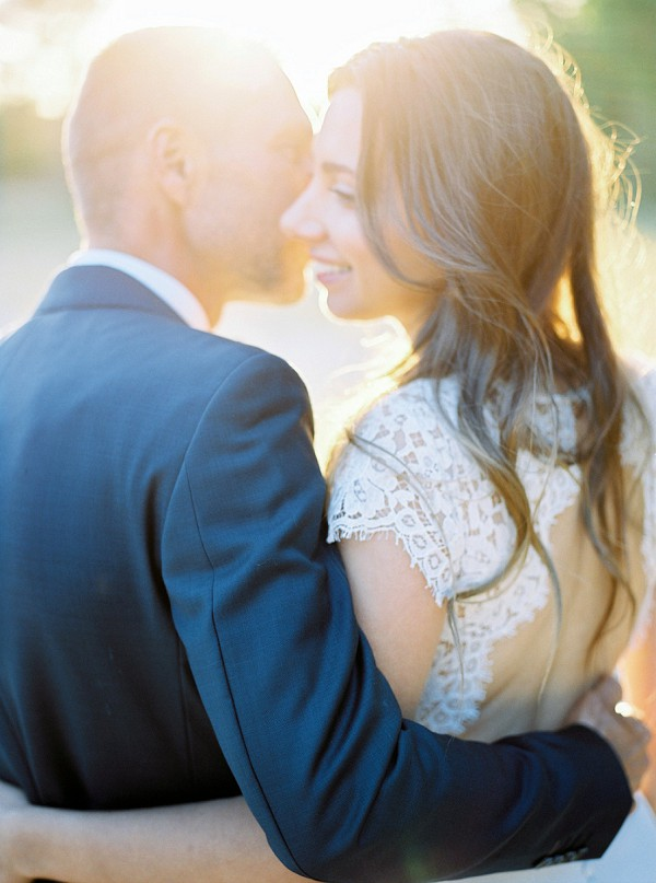 beautifully lit wedding photo