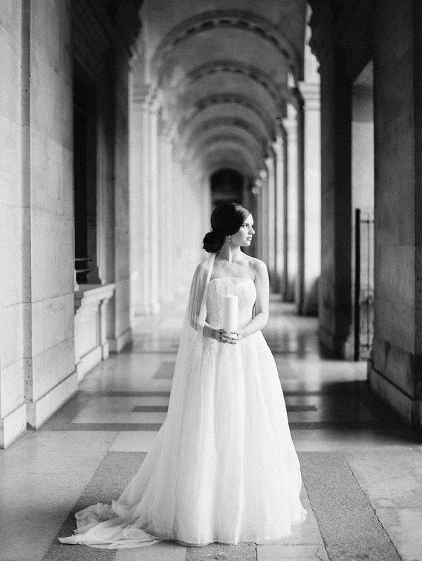black and white paris wedding photo