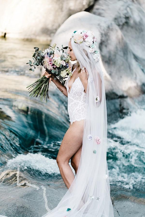 flowers in veil