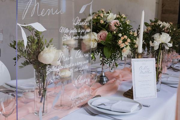 perspex wedding menu