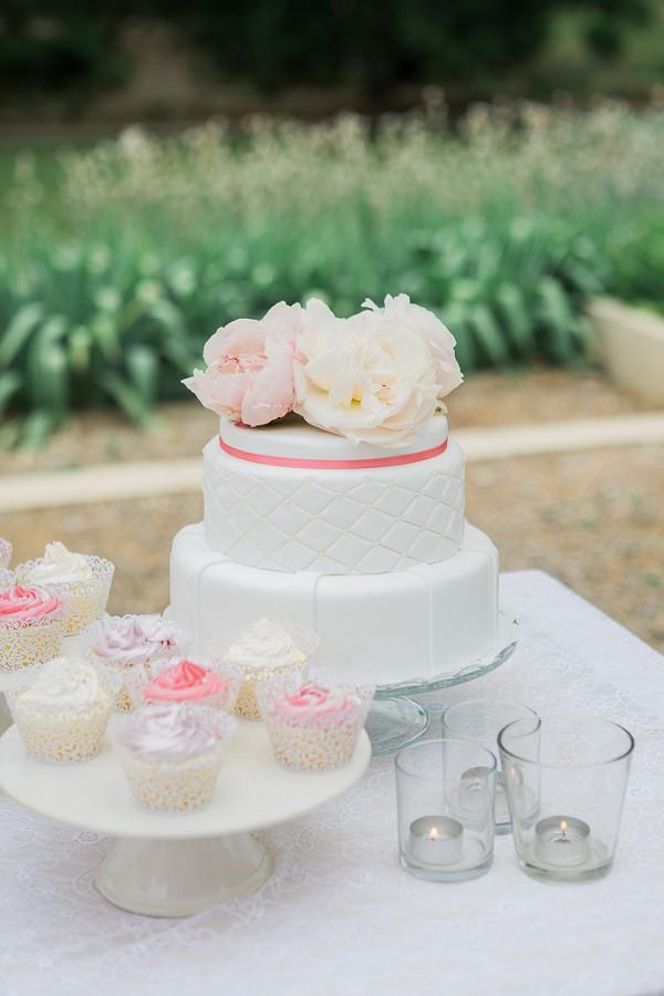 two tier white wedding cake
