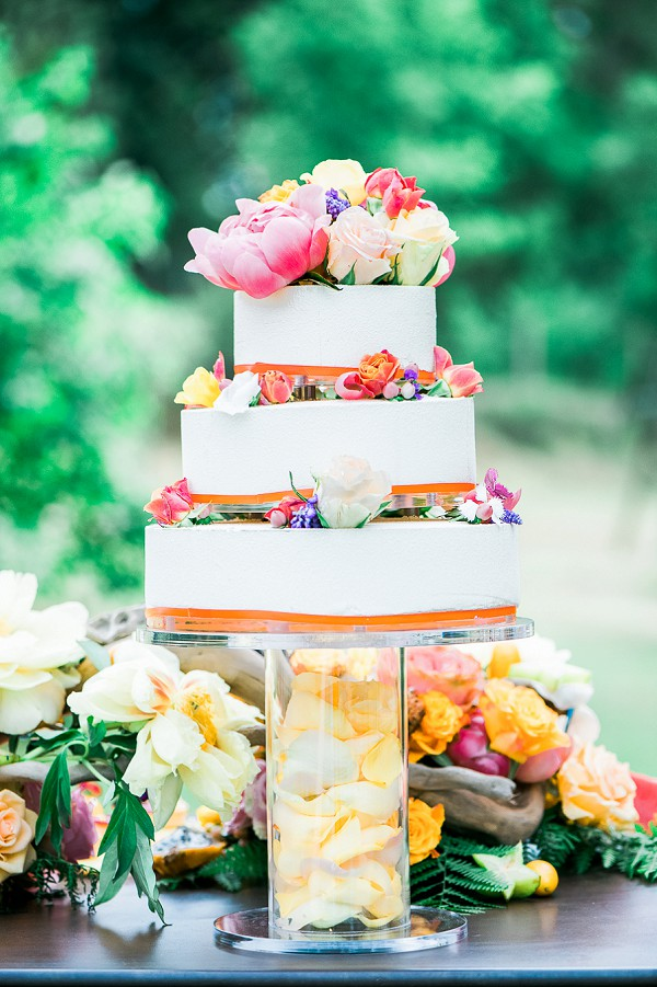 bright wedding cake