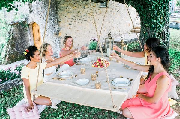 garden party bridal prep