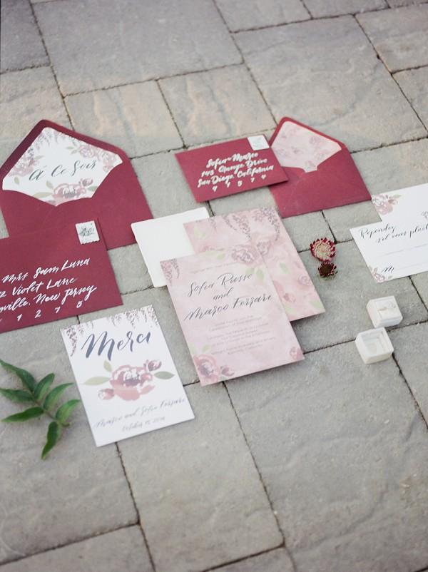 maroon wedding invitation