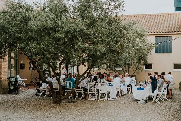 outdoor wedding dinner