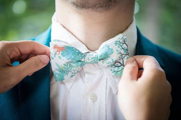 tropical inspired bow tie