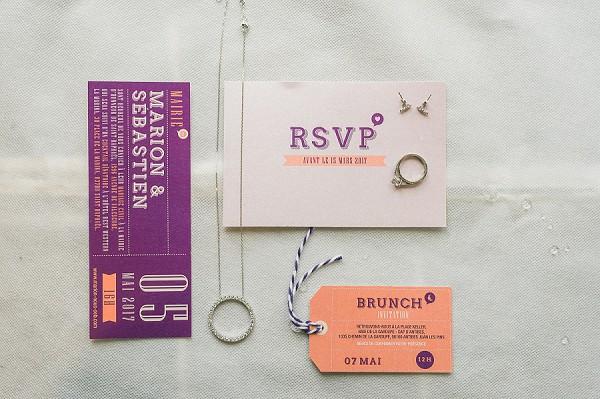 vibrant wedding stationery