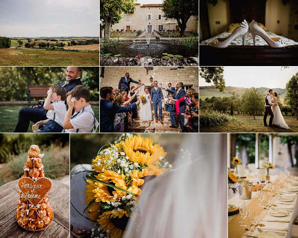 Sunflower Inspired Chateau de Brametourte Wedding
