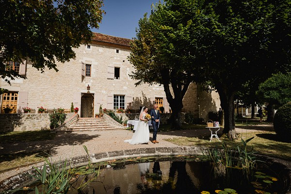 outdoor chateau wedding ceremony