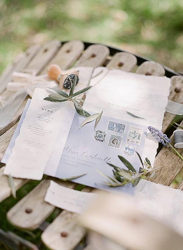 provence inspired wedding invite