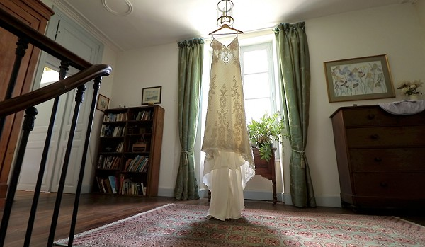 spaghetti strap wedding dress
