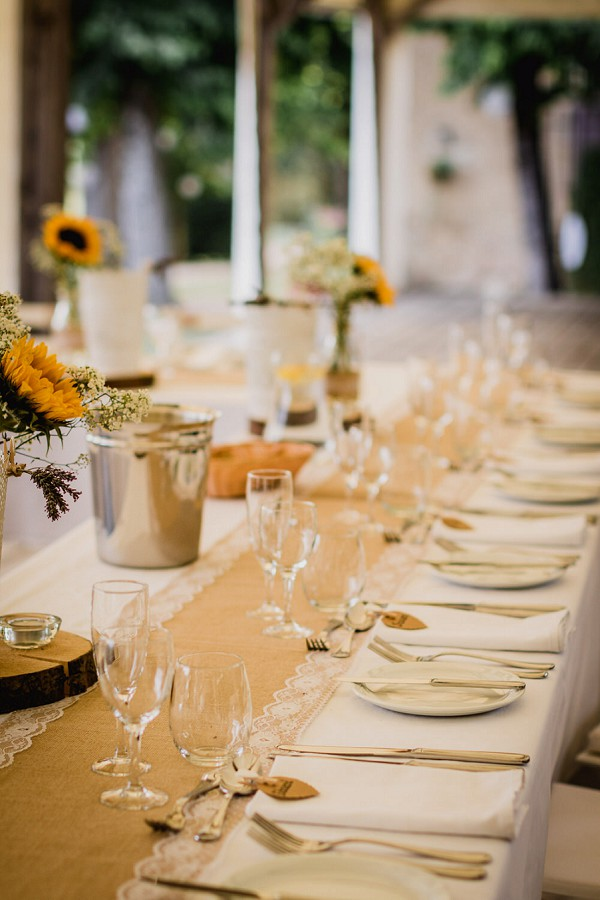 sunflower wedding tablescape