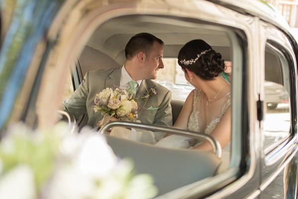 vintage wedding car photo