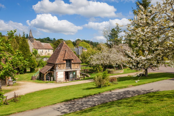 Old thatched roof house in Lower Normandy