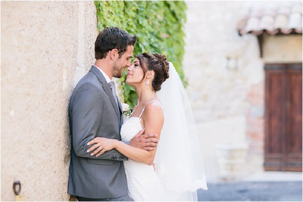 Real life Bride and Groom sharing a first kiss