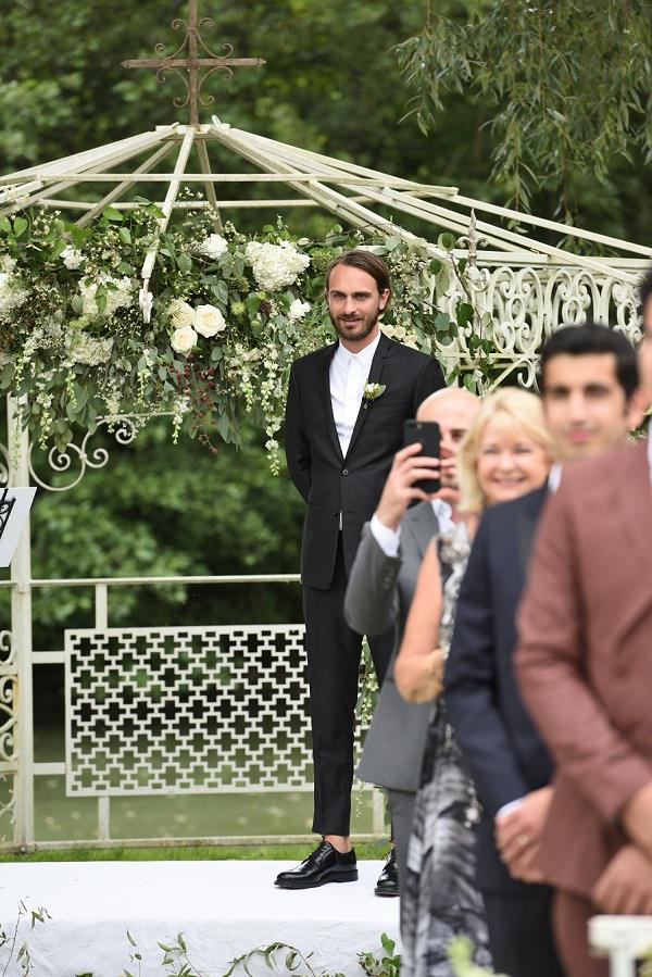 greenery floral arch wedding