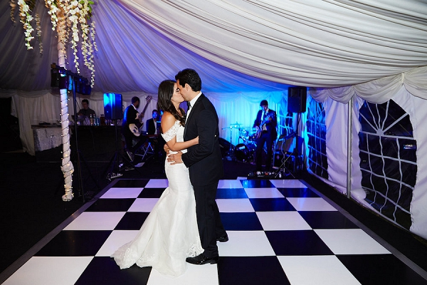 black and white wedding dance floor