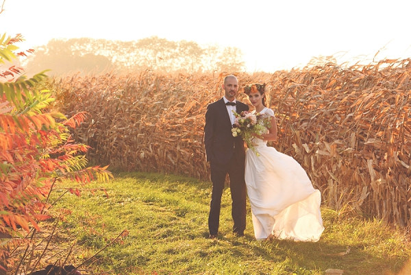corn fields wedding photo