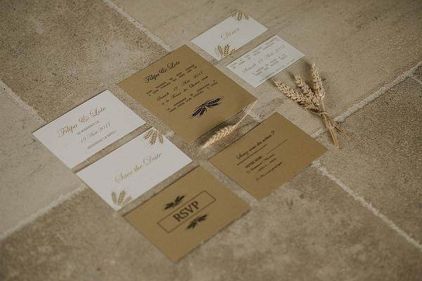 wheat inspired wedding stationery