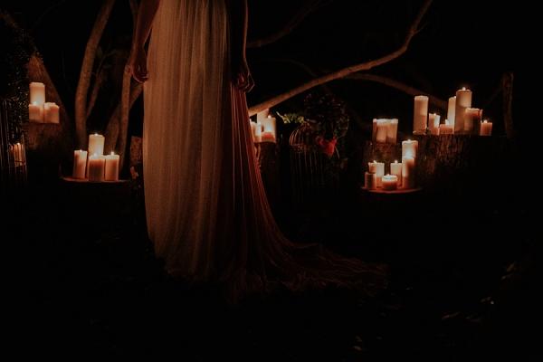romantic candle lit wedding ceremony