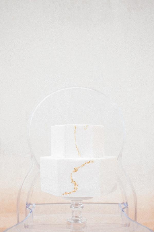 two tier modern wedding cake