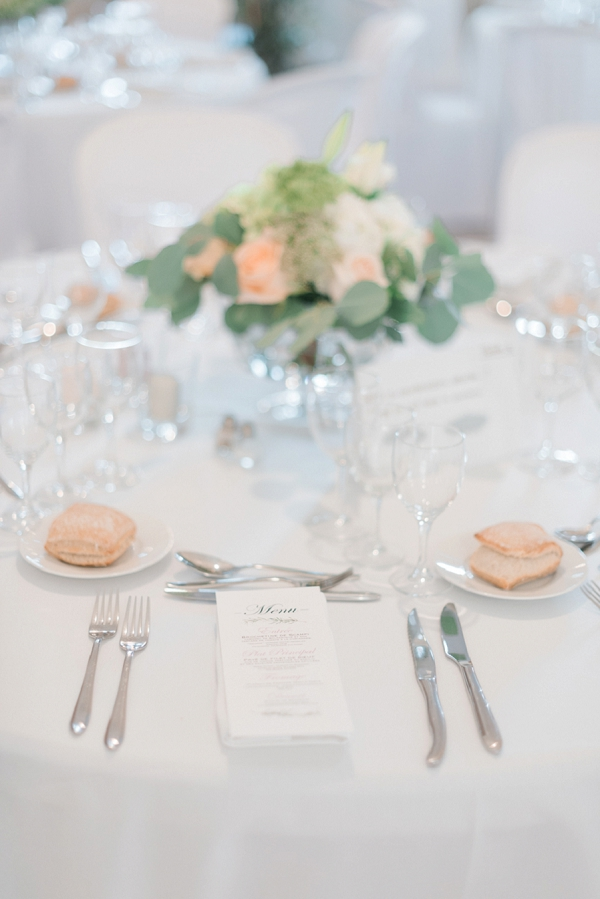 white, green and peach wedding colours