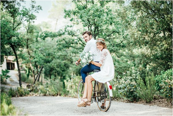 French Country Wedding Couple Bicycle