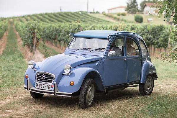 Vintage French wedding car