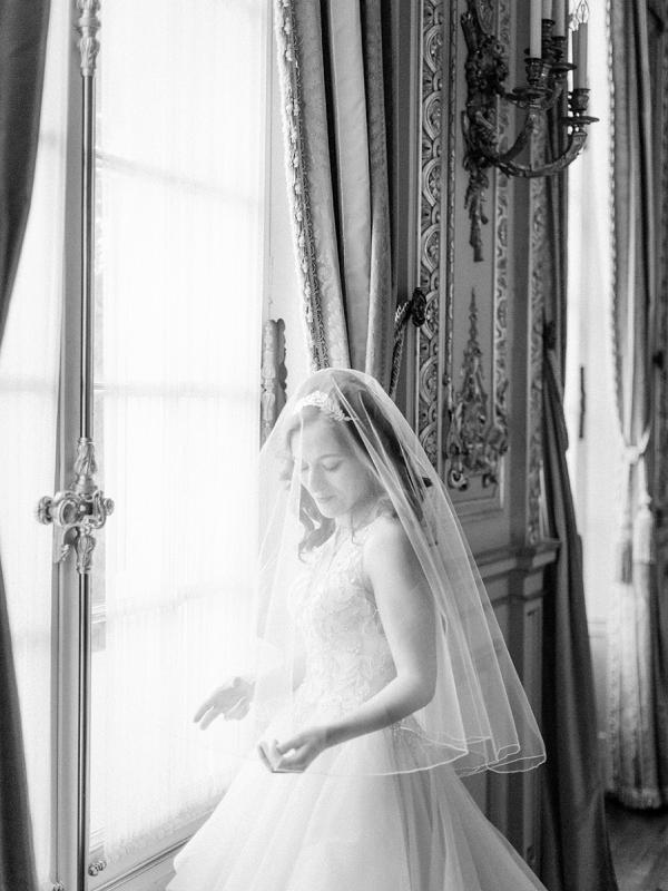 black and white Paris wedding photo