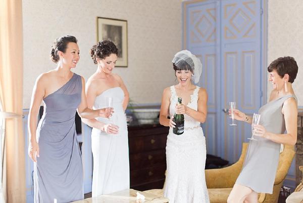 champagne wedding morning