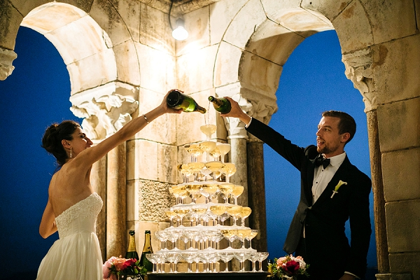 champagne wedding tower