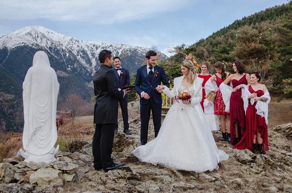 deep red bridesmaid dress