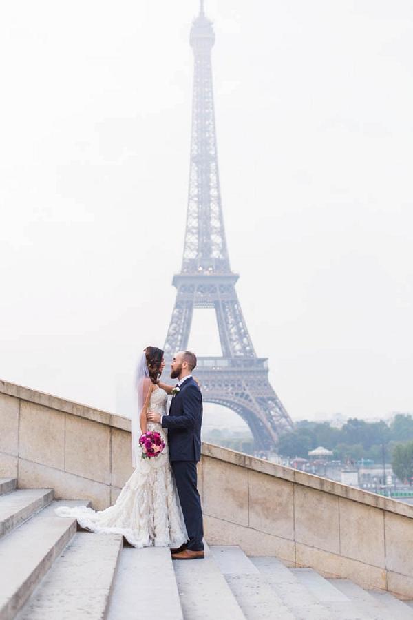eiffel tower bride and groom