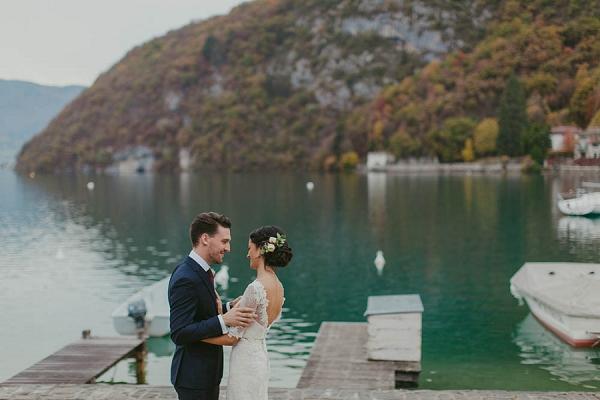 lake side bride and groom portraits