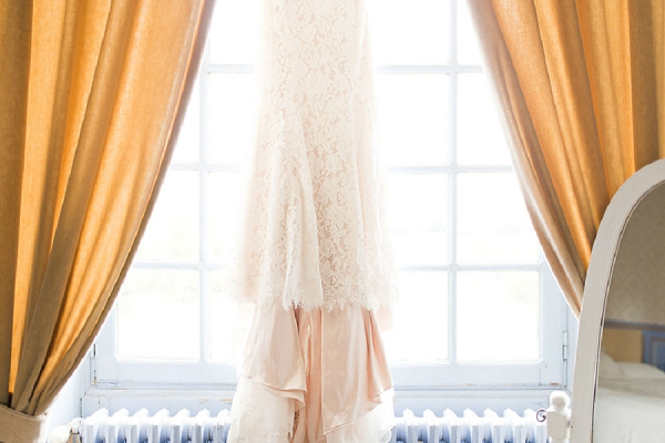 nude lace wedding gown