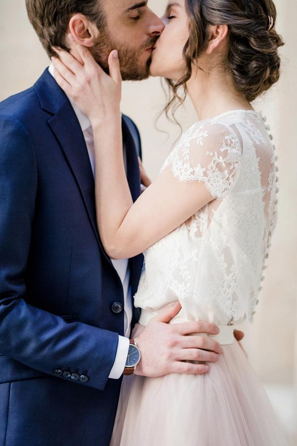 two piece blush wedding gown