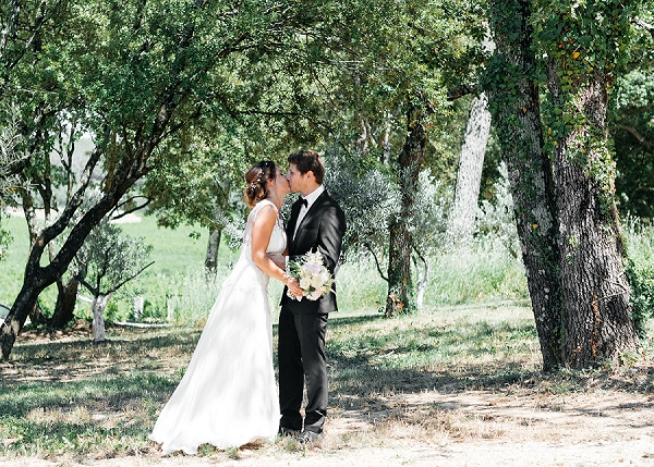 Bride and groom first look Provence