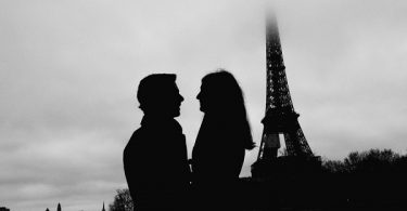 Eiffel Tower engagement silhouette