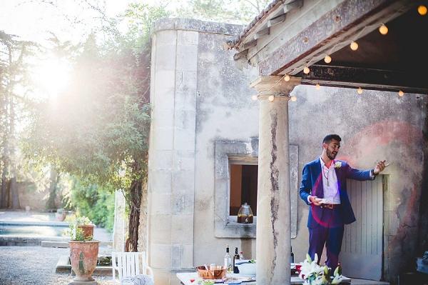 Outdoor wedding toast