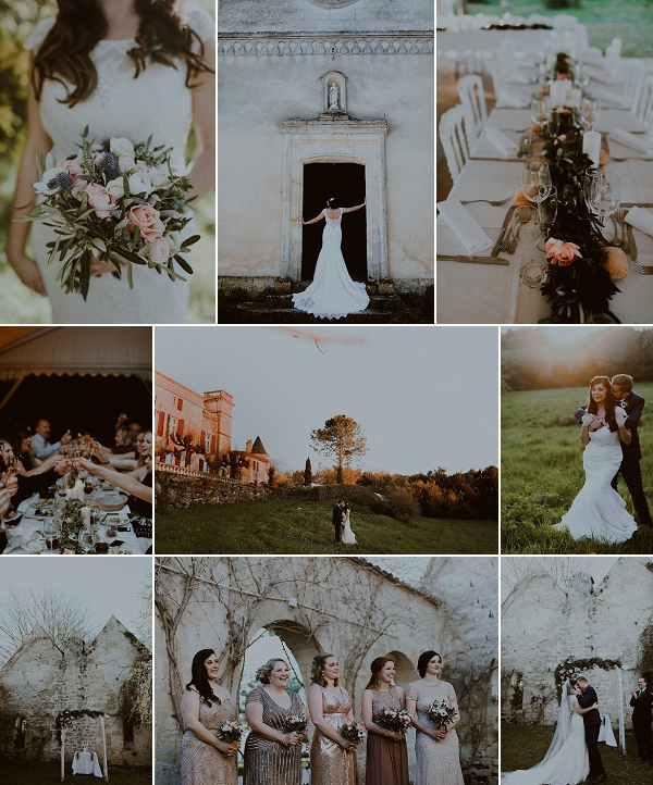 Shimmery Rose Gold Château Sentout Wedding Snapshot