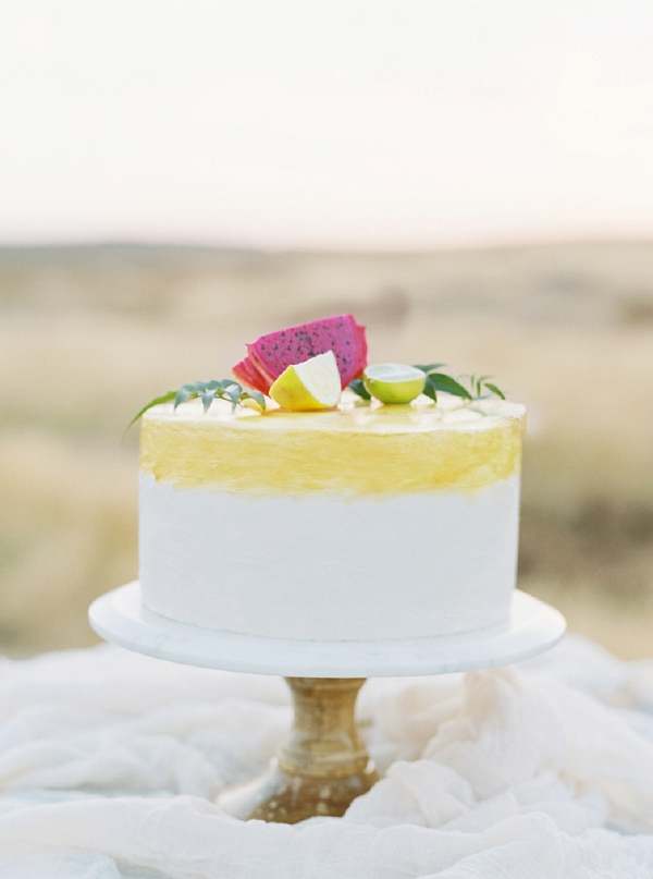 Simple citrus wedding cake