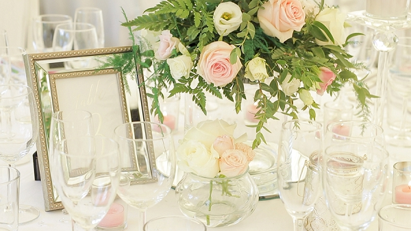pink and cream wedding decor
