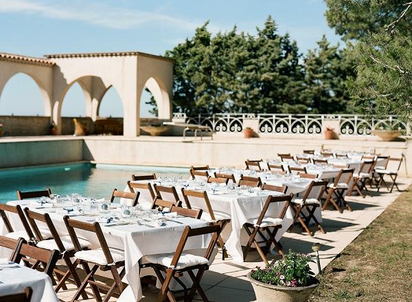 pool side wedding reception