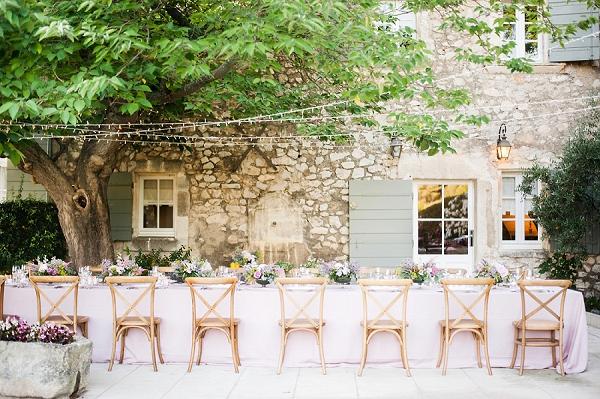 rustic outdoor wedding meal