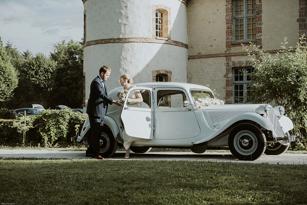 vintage wedding french car