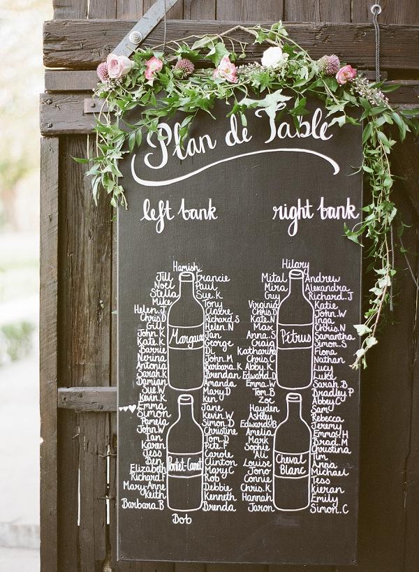 Blackboard wedding table plan