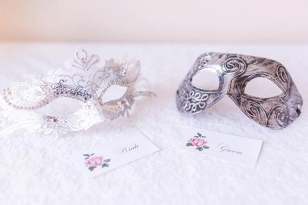 Bride and grrom masquerade masks