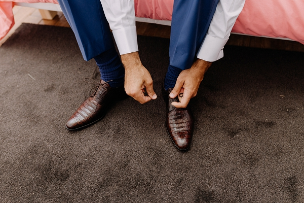Château wedding groom prep