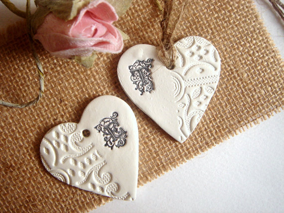 Hearts Monogram Wedding Favour