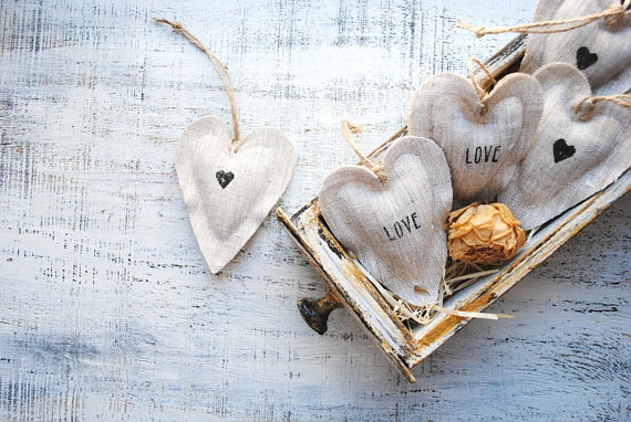 Lavender heart sachets wedding favors